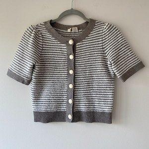 Moth Striped Crop Button Sweater Cardigan Medium